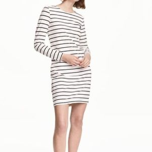H&M black and white 3/4 sleeve casual mini dress